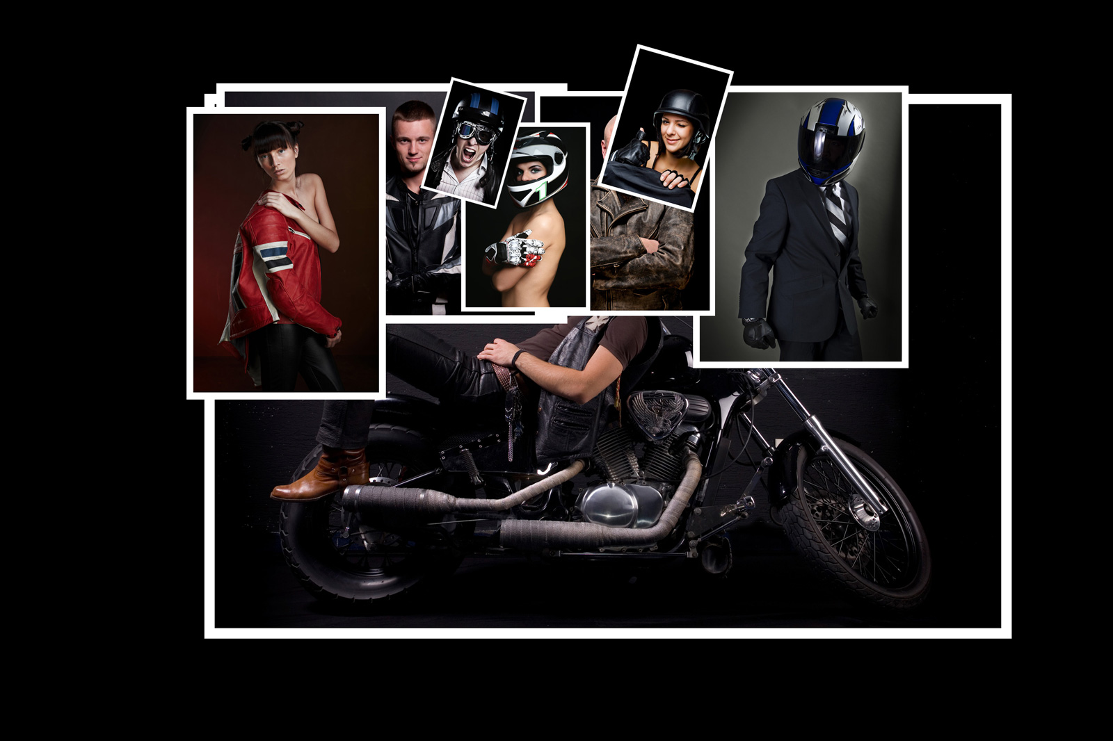 Image manipulation - bikers campaign 1 collated photos